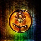 Adorno circular del metal de la ?flor?, primer en el arco iris Imágenes de archivo libres de regalías