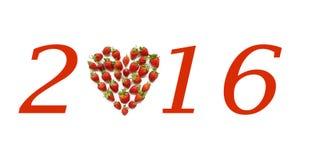 Adorno de la Navidad con las fresas en forma de corazón Foto de archivo libre de regalías