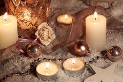 Adorno de la Navidad con las velas Imagen de archivo