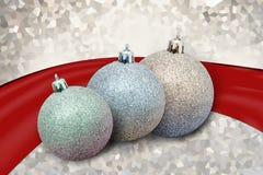 Adorno de las bolas de la Navidad en fondo azul Foto de archivo libre de regalías