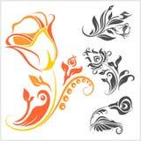 Adorno de Rose - vector de los elementos del diseño floral Imagen de archivo