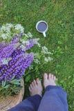 Adorno de una mujer que se coloca descalzo en la hierba, las flores salvajes y una taza de café imagen de archivo