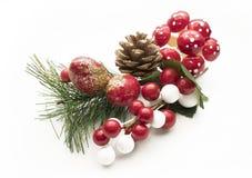 Adorno decorativo de la Navidad sobre el fondo blanco Foto de archivo libre de regalías