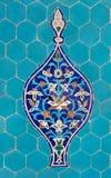 Adorno en los azulejos azules Imagenes de archivo