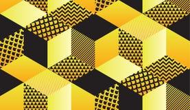 Adorno inconsútil del hexágono geométrico retro fresco 90s stock de ilustración