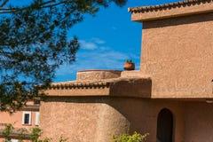 Adorno mediterráneo, casa con las cabezas de flor y cactus Fotos de archivo libres de regalías