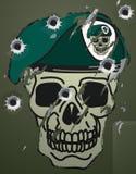 Adorno retro de los militares del cráneo y de la boina ilustración del vector