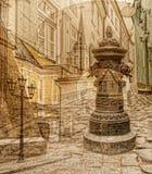 Adornos de la ciudad vieja de Riga, Letonia Imagen de archivo