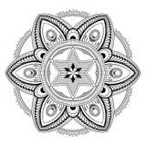 Adornos de la mandala de la flor Elementos decorativos de la vendimia Modelo oriental, ejemplo del vector Página del libro de col Foto de archivo