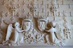 Adornos heráldicos en el castillo Amboise. Fotografía de archivo libre de regalías