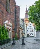 Adornos medievales de la ciudad vieja de Riga Foto de archivo