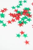 Adornos verdes rojos de la estrella Fotografía de archivo libre de regalías