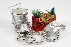 Adorntments del árbol de navidad aislados Imágenes de archivo libres de regalías
