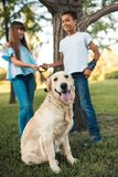 Ados multi-ethniques avec le chien Photos stock