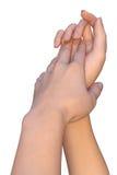 Adoucissez le contact des mains femelles Photos libres de droits