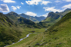 Adour de lesponne river and high mountain pasture in the Pyrenee Stock Images