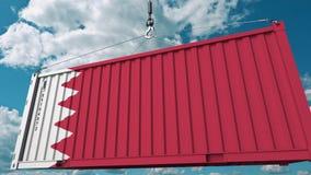 ?adowniczy ?adunku zbiornik z flag? Bahrajn Bahrajnu eksport lub import odnosić sie konceptualną 3D animację ilustracja wektor