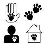 Adozione del gatto ed insieme di cura delle icone di vettore Immagine Stock