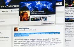 Adquisición de Mark Zuckerberg Oculus Rift Foto de archivo