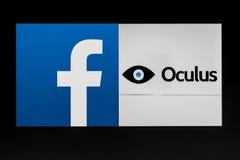 Adquisición de Mark Zuckerberg Oculus Rift Imágenes de archivo libres de regalías