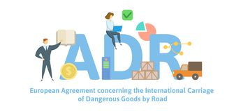 ADR, European Agreement concerning the International Carriage of Dangerous Goods by Road. Concept with keywords, letters. And icons. Colored flat vector stock illustration