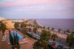 Adra au coucher du soleil, Andalousie, Espagne Images stock