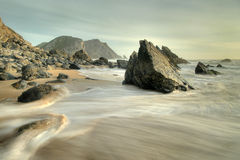 Adraga. Slow shutter speed shore coast landscape from adraga beach near sintra, portugal Stock Images