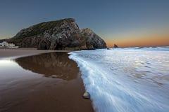 Adraga plaża w wintrer Zdjęcie Royalty Free