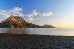Adrasan-Strand bei Sonnenaufgang Die Türkei Stockfotos