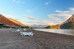 Adrasan-Strand bei Sonnenaufgang Die Türkei Lizenzfreie Stockfotografie