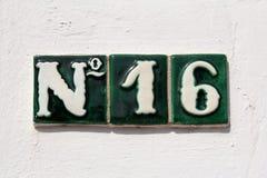Adreßhausnummer 16 Stockfoto