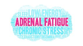 Adrenal fatigue animated word cloud royalty free illustration