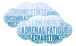 Adrenal Fatigue Word Cloud. On a white background Royalty Free Stock Image