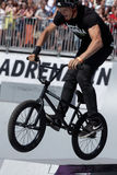 Adrenalin Games in Moscow, Russia,. Moscow, Russia - July 08, 2012: Unidentified athlete in BMX competitions during Adrenalin Games. Adrenalin Games is the major Royalty Free Stock Photos