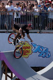 Adrenalin Games in Moscow, Russia,. Moscow, Russia - July 08, 2012: Unidentified athlete in BMX competitions during Adrenalin Games. Adrenalin Games is the major Royalty Free Stock Image