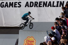 Adrenalin Games in Moscow, Russia,. Moscow, Russia - July 08, 2012: Unidentified athlete in BMX competitions during Adrenalin Games. Adrenalin Games is the major Royalty Free Stock Photography