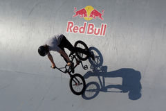 Adrenalin Games in Moscow, Russia,. Moscow, Russia - July 08, 2012: Unidentified athlete in BMX competitions during Adrenalin Games. Adrenalin Games is the major Royalty Free Stock Images