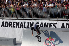 Adrenalin Games in Moscow, Russia,. Moscow, Russia - July 08, 2012: Unidentified athlete in BMX competitions during Adrenalin Games. Adrenalin Games is the major Stock Image