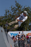 Adrenalin Games in Moscow, Russia. Moscow, Russia - July 08, 2012: Unidentified athlete in skateboarding competition during Adrenalin Games in Moscow. Adrenalin Royalty Free Stock Photo