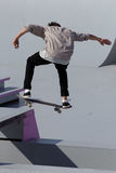 Adrenalin Games in Moscow, Russia. Moscow, Russia - July 08, 2012: Unidentified athlete in skateboarding competition during Adrenalin Games in Moscow. Adrenalin Royalty Free Stock Photos