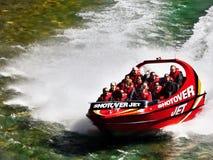 Adrenalin Jet Boat Ride Canyon, Neuseeland Stockfotos