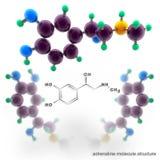 Adrenalin molecule structure. Three dimensional model render Stock Photos