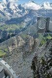 Adrenaline attraction at the edge of steep cliff in Birg. Switzerland royalty free stock photo