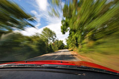 Adrenaline Fast Driving. Exciting Adrenaline Fast Sport Car Driving in Nature Freeway stock photos