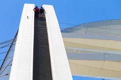 Adrenaline Junkies Climbing Steps Royalty Free Stock Images