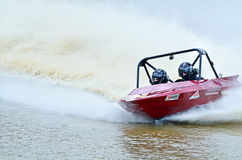 Adrenaline pumping excitement V8 Super boat speedboat racing Royalty Free Stock Image