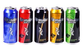 Adrenaline Rush. Aluminium cans of the Adrenaline Rush isolated over white background royalty free stock photography