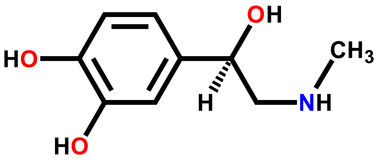 Adrenaline structural formula stock illustration