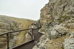Adrenaline walking trail near Mount Lagazuoi. In Italian Dolomites stock photos