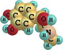 Adrenalinmolekyl på vit bakgrund Arkivfoto